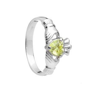 Silver August Birthstone Claddagh Ring