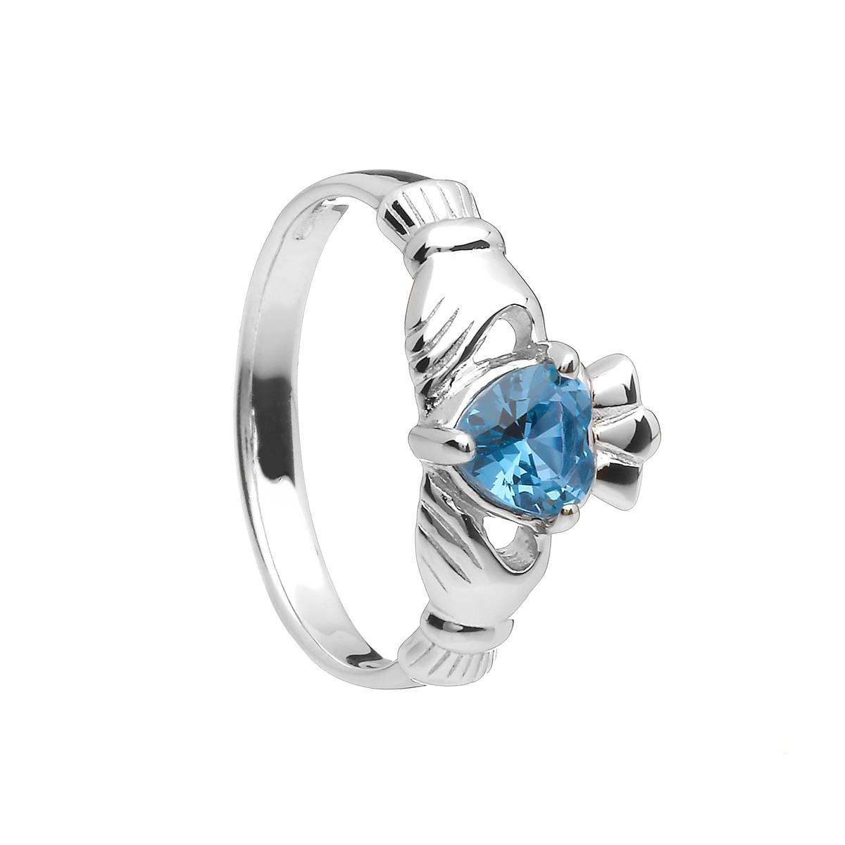 Sterling Silver Classic December Birthstone Claddagh Ring
