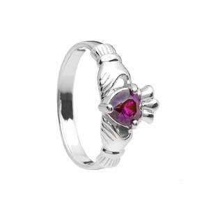 February Birthstone Silver Claddagh Ring