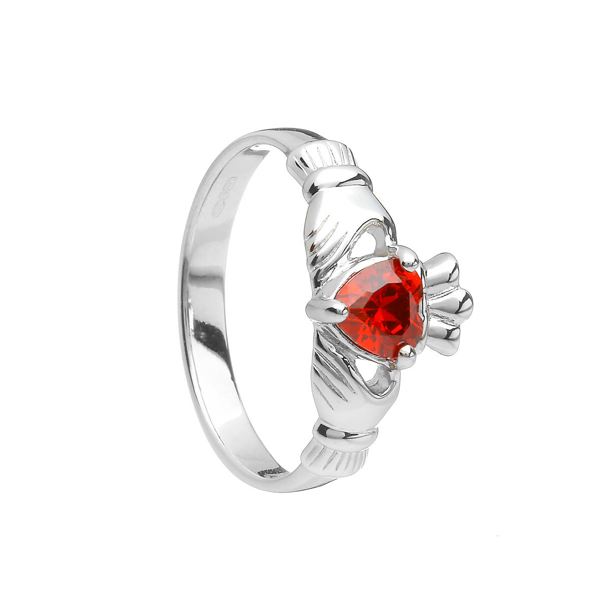 Sterling Silver Classic January Birthstone Claddagh Ring