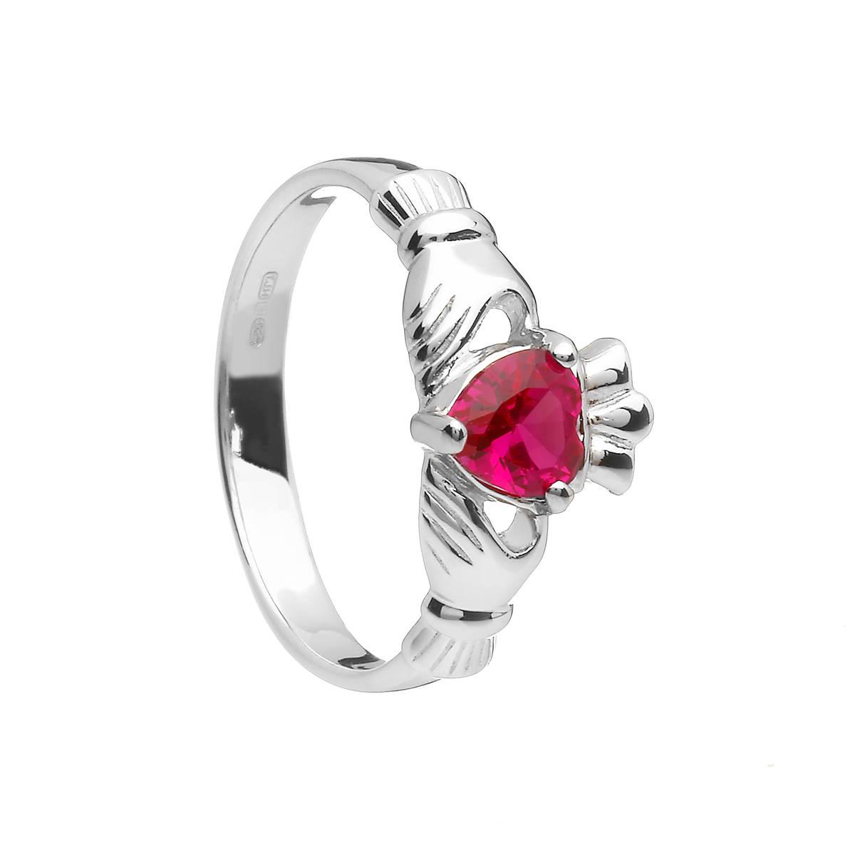 Sterling Silver Classic July Birthstone Claddagh Ring