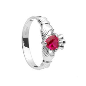 July Birthstone Silver Claddagh Ring