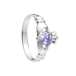 June Birthstone Silver Claddagh Ring