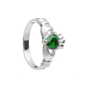 May Birthstone Silver Claddagh Ring