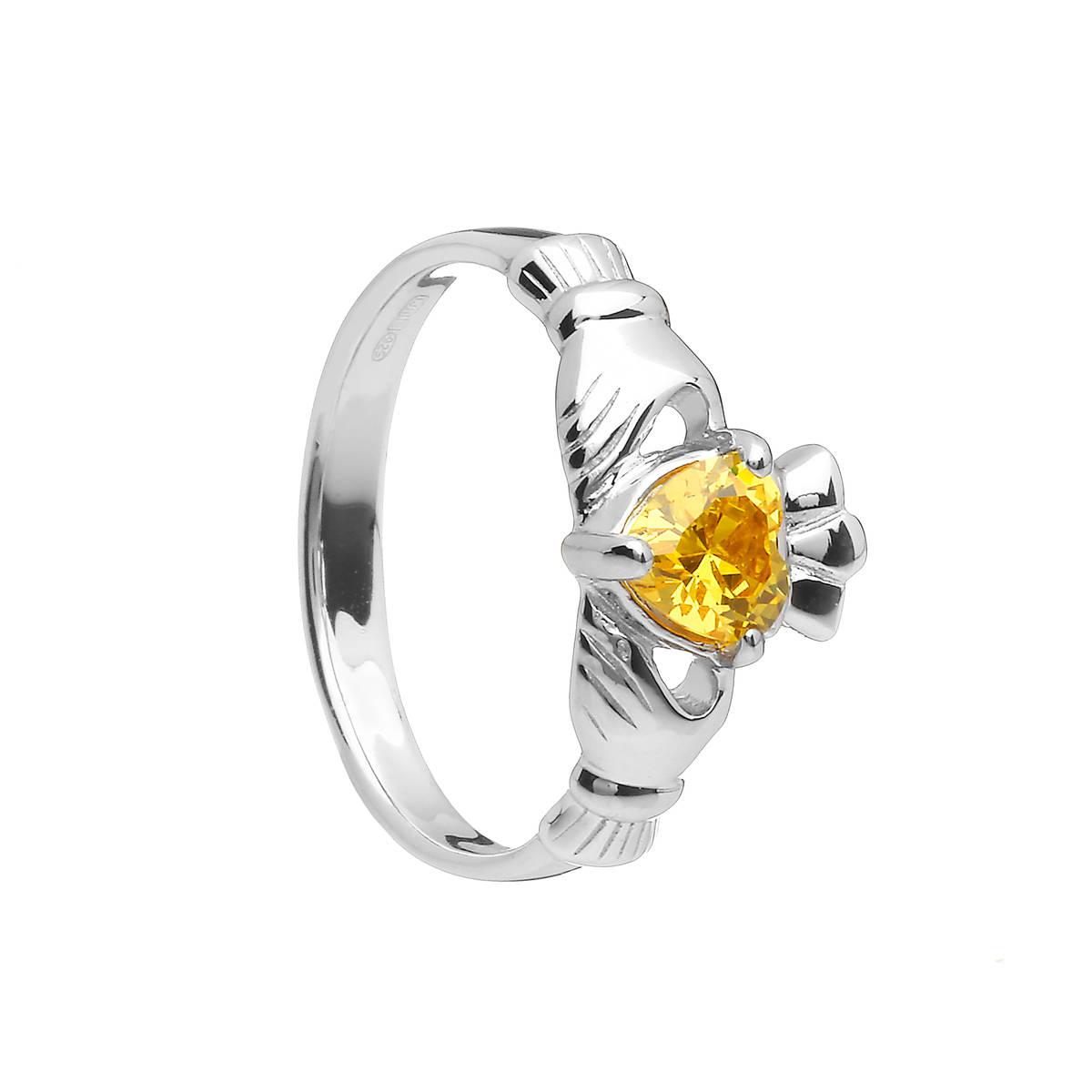 Sterling Silver Classic November Birthstone Claddagh Ring