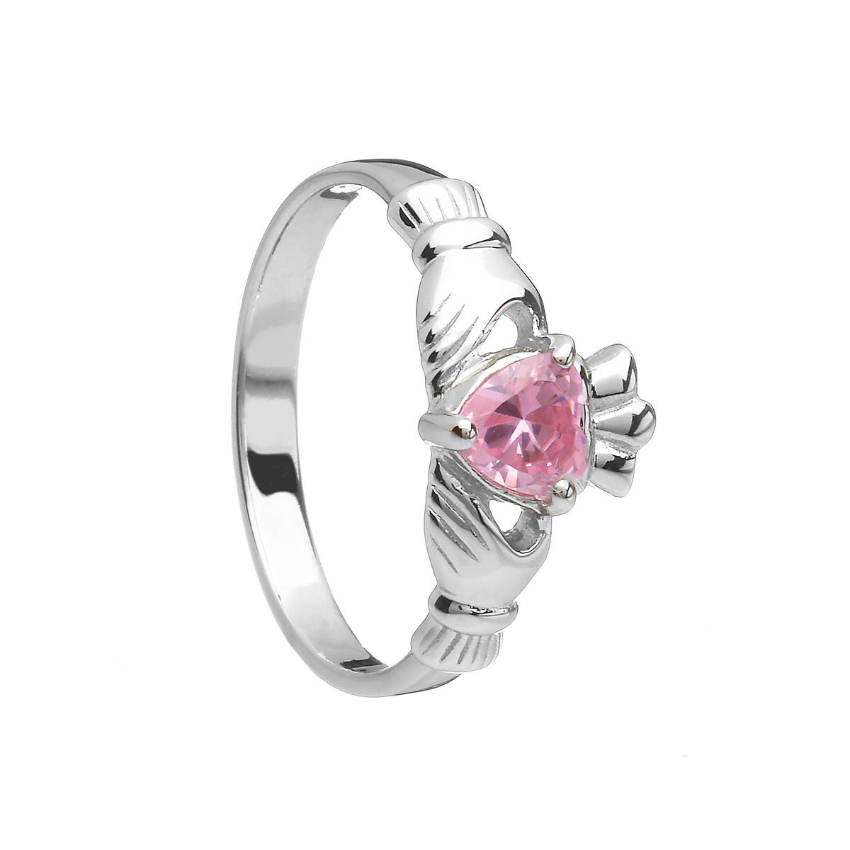Sterling Silver Classic October Birthstone Claddagh Ring