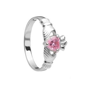October Birthstone Silver Claddagh Ring