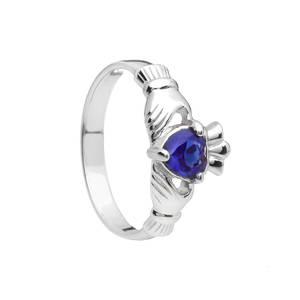September Birthstone Silver Claddagh Ring