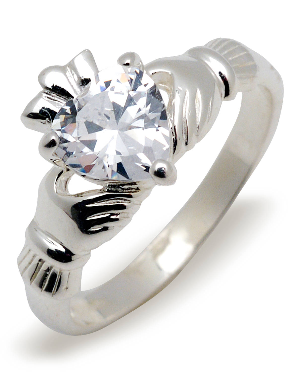 Silver claddagh birthstone ring available with birthstones for every month.Just email us advising of the month required.