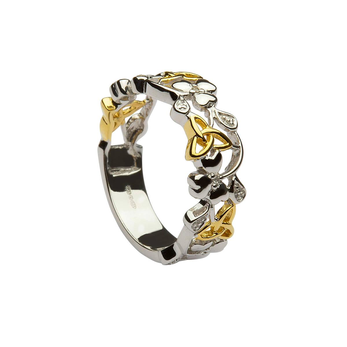 Silver/GP band shamrock/trinity knot and diamond ring