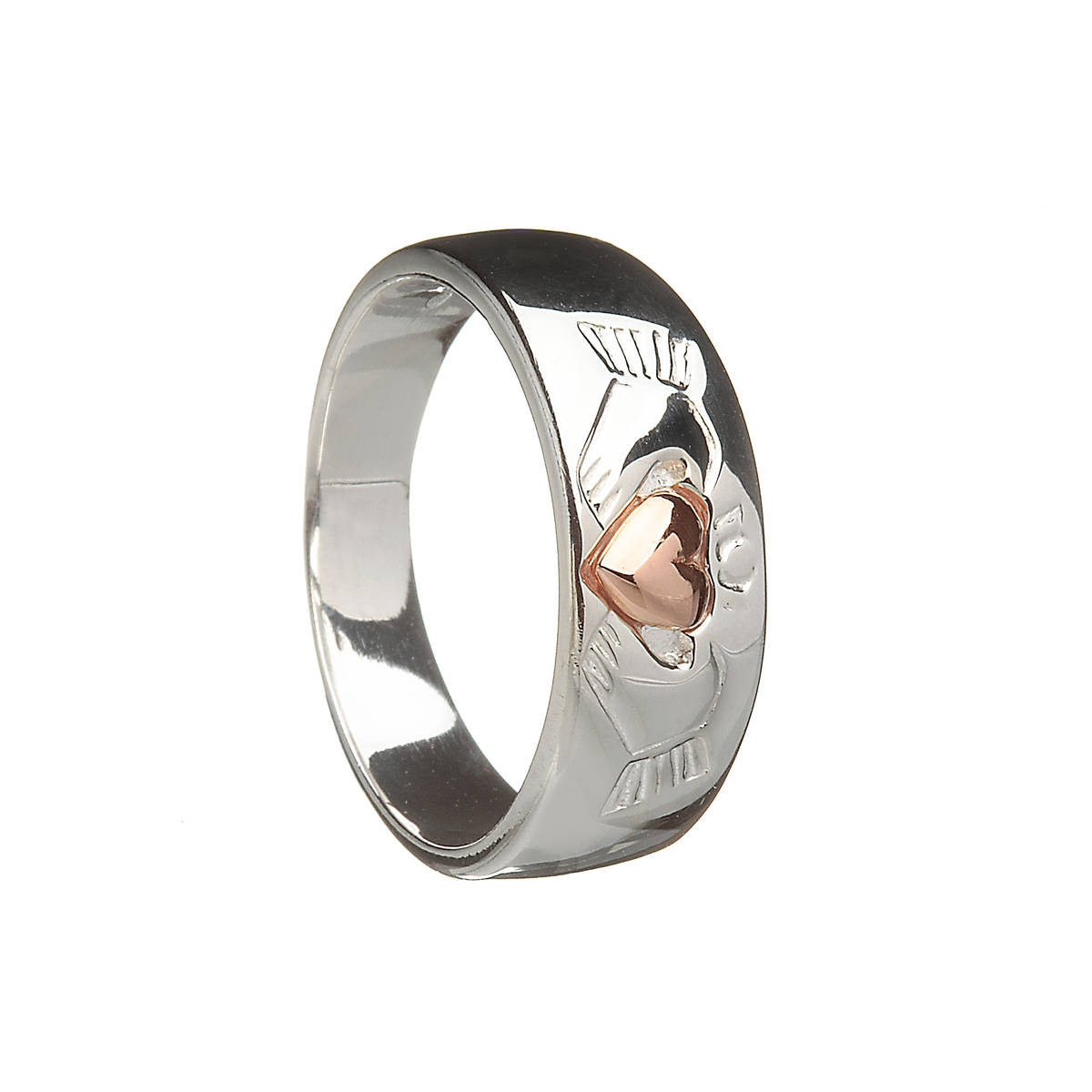 Silver ladies claddagh ring with rose gold plated heart.
