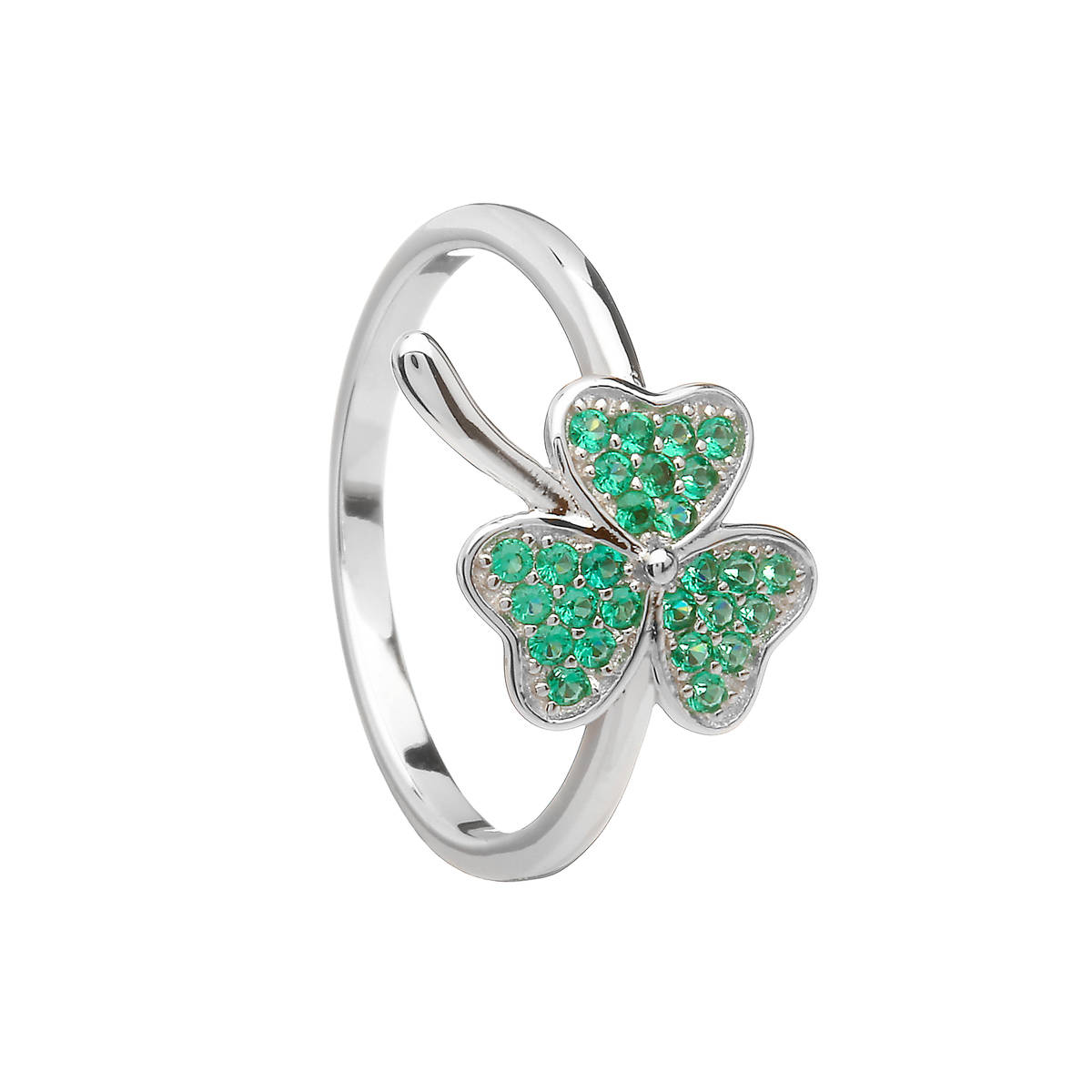 Silver Shamrock Ring With Green Cz