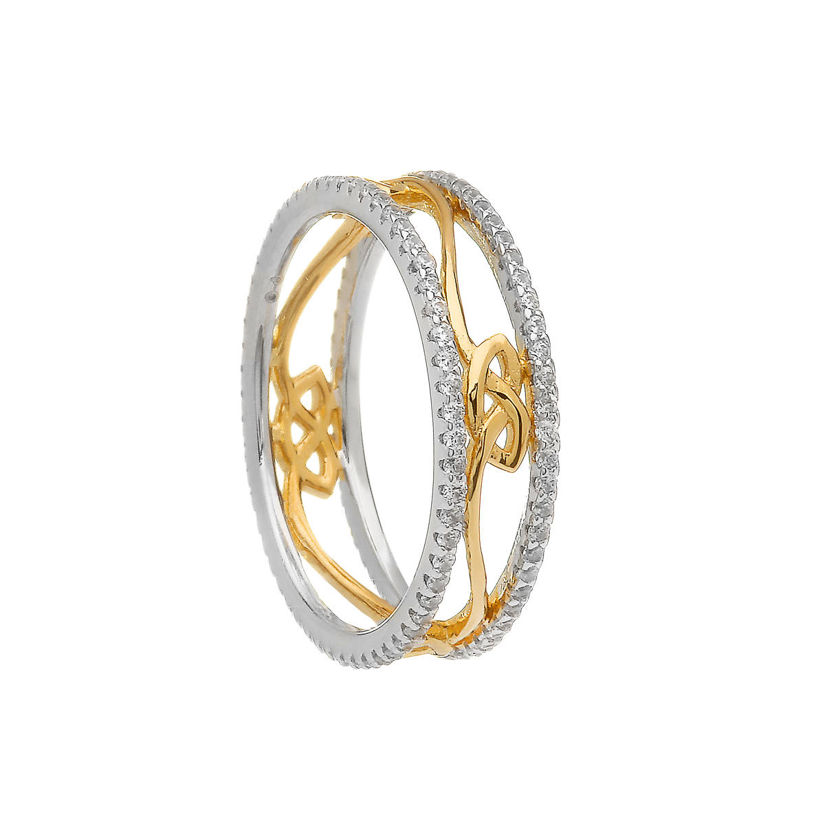 Silver Cz Two Tone Love Knot Eternity Band Four Knots
