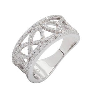 Silver Love Knot Celtic Ring with Cubic Zirconia
