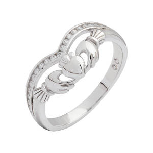 Silver Claddagh Ring with Cubic Zirconia