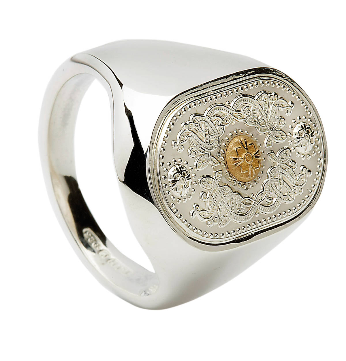 Arda Small Silver (20Mm) Gents Signet Ring & 14 carat Yellow Gold Boss