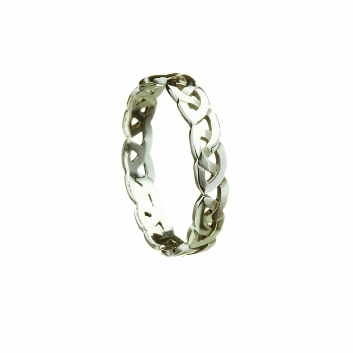 1o ct white gold ladies narrow woven Celtic knot band to P size