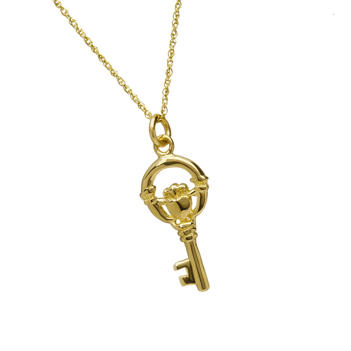 10ct Y/gold Claddagh Keys Of Ireland Charm Pendant