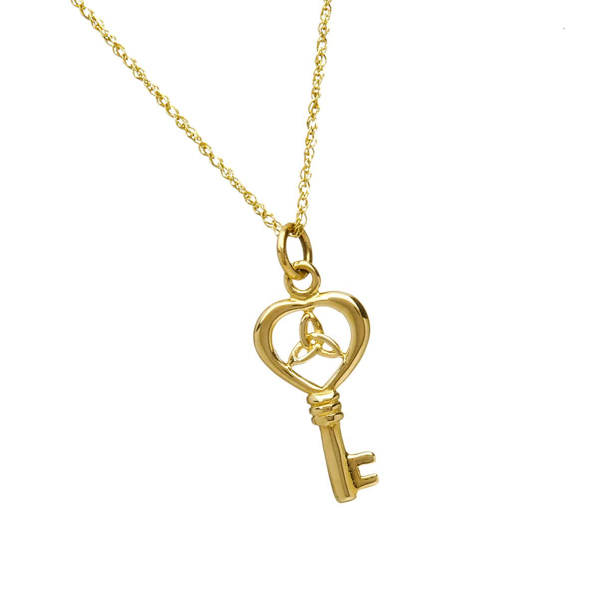 10 carat yellow gold key pendant with trinity knot
