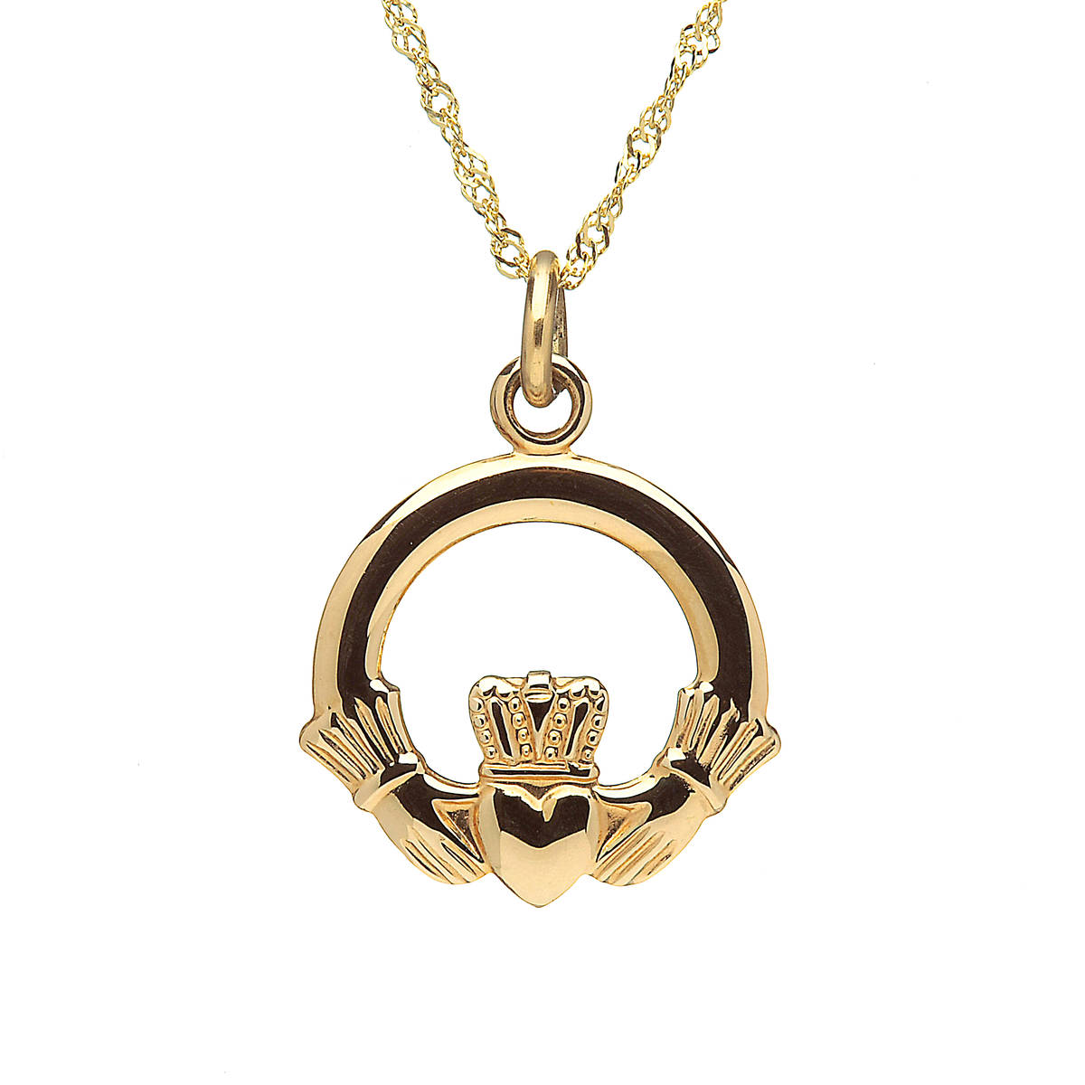 \n10 carat gold claddagh on chain 15mmX15mm\nPresented in the original style this piece is a perfect gift of love.\nAvailable in white gold or rose gold also.\nIf so desired,leave a note in the comment box on checkout.