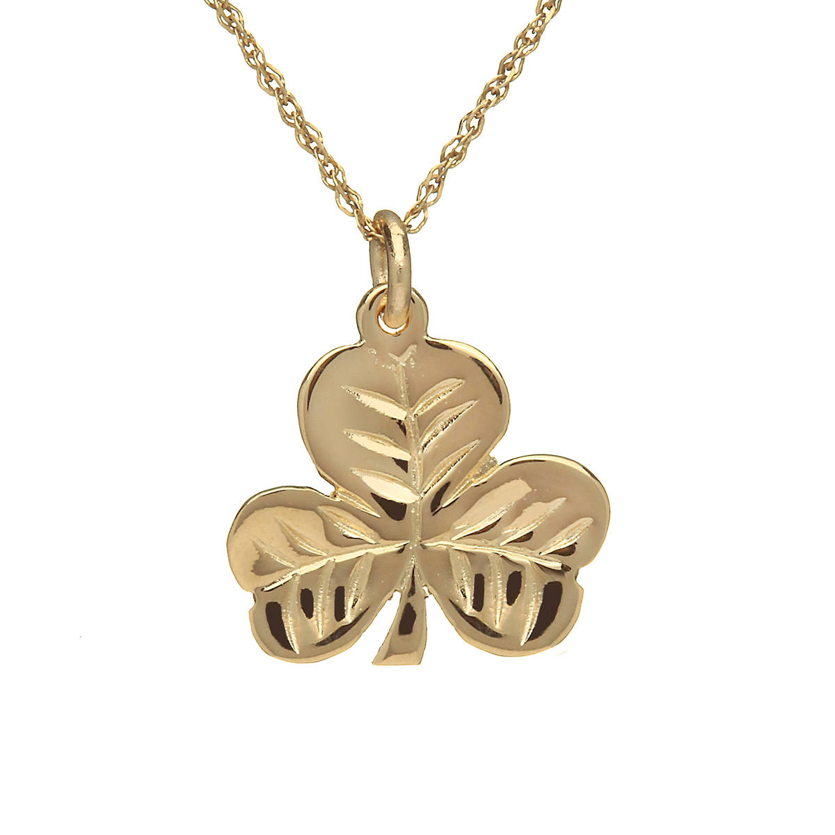 \nLoose 10 carat yellow gold shamrock charm-no chain included.\nThis is the National Emblem of Ireland known all over the worldonSt. Patrick's Day.