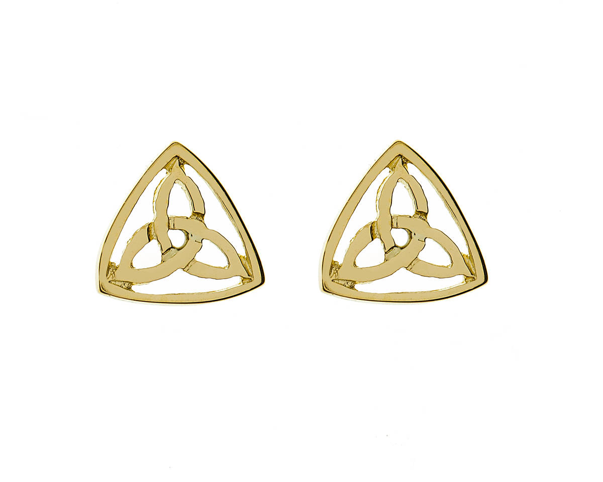 10 carat yellow gold celtic trinity stud earrings in a classic presentation.