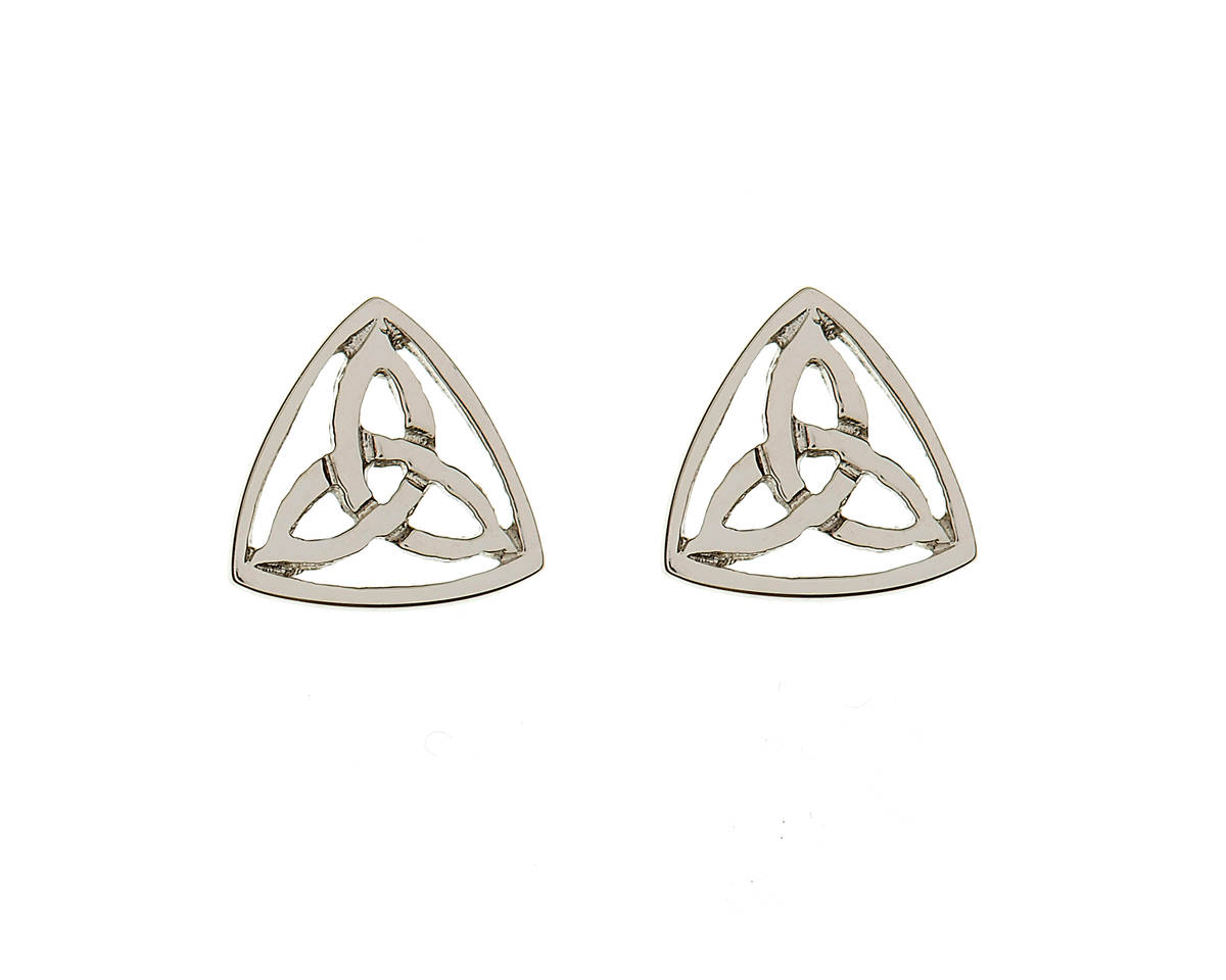10 carat white gold classic eternal trinity knot stud earrings.-for the lover of white gold.