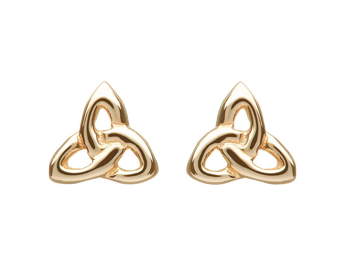 Beautiful10 carat yellowgold traditional eternal trinity knot stud earrings.