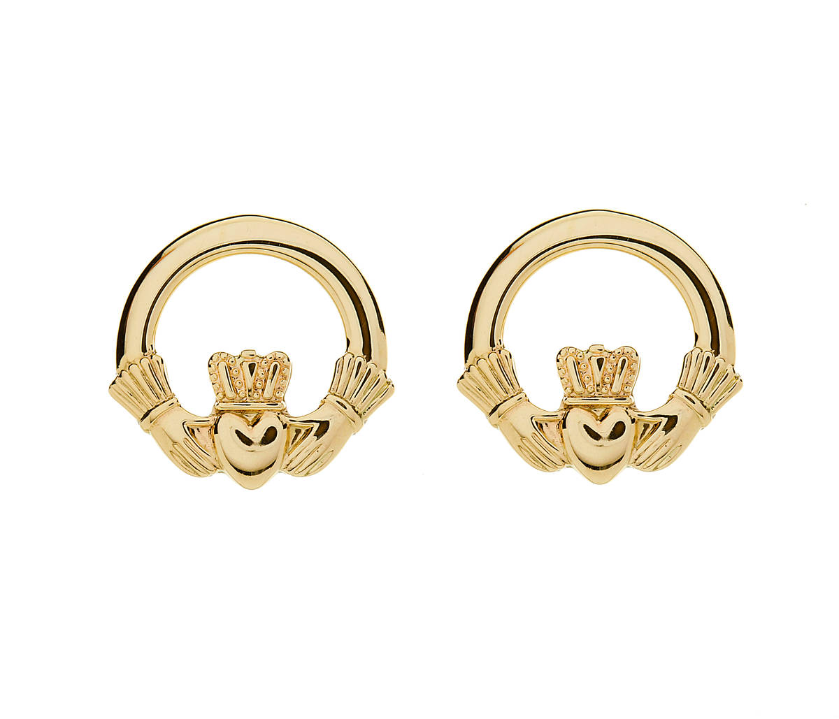 10ct Gold Claddagh Stud Earring 10 carat yellow gold medium classic claddagh stud earrings-A Conversation Stopper!!