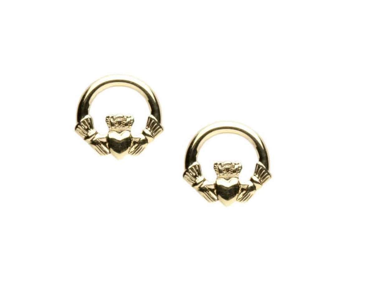 10 carat yellowgold small classic claddagh stud earrings perfect for any occasion.(image is in white gold but is available in yellow gold)