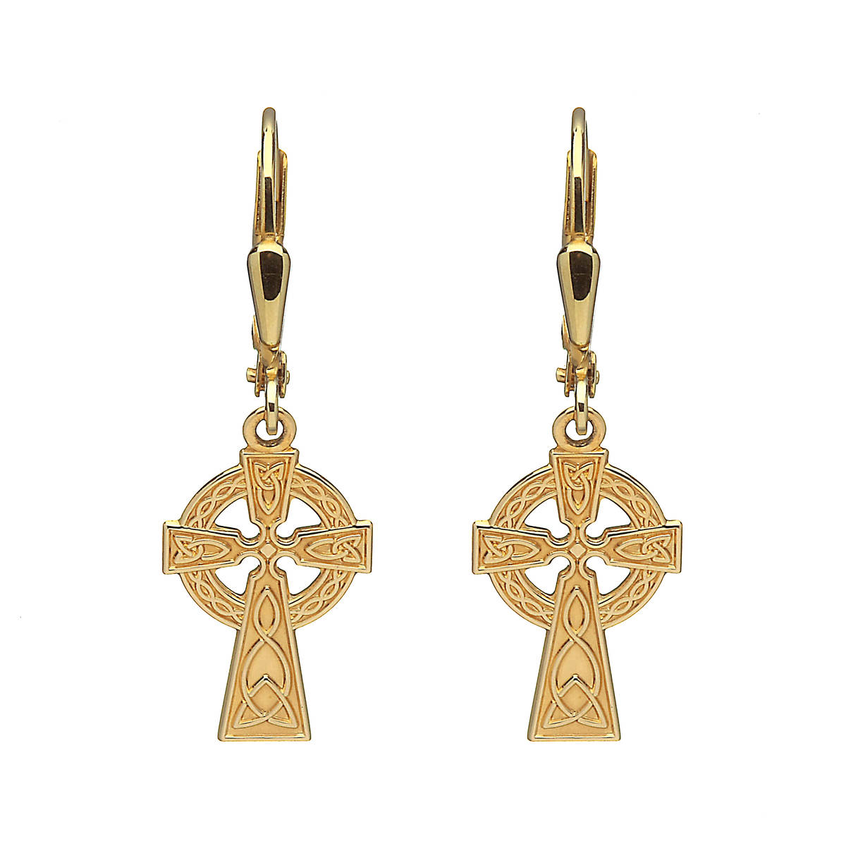 10 carat yellow gold celtic cross drop earrings in the classic style.30mm high and 10mm wide with continental german wire fittings and plain back.