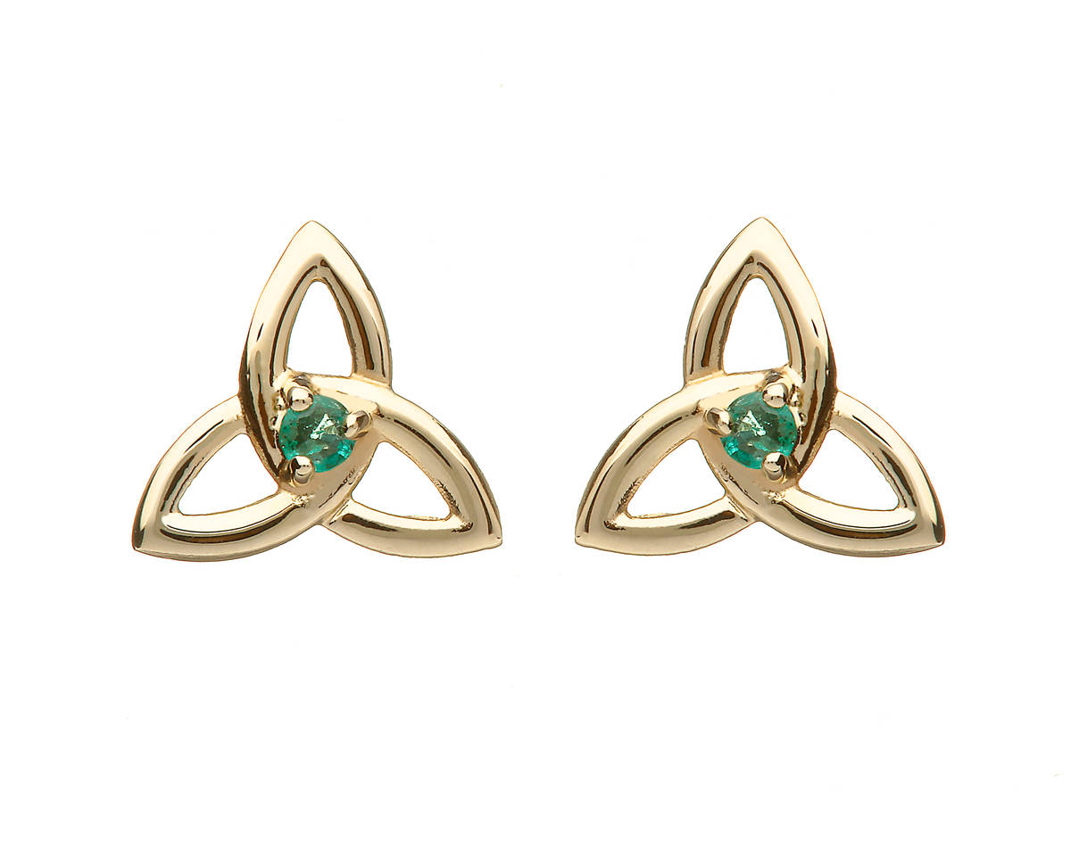 10ct Yellow Gold Trinity Knot Emerald Set Earrings Boxed