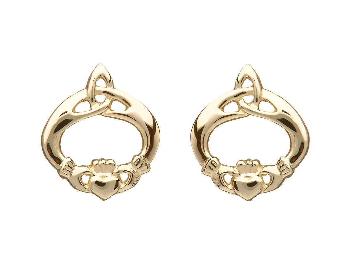 10 carat yellow gold Claddagh stud earrings with the trinity knot incorporated 13mmX11mm