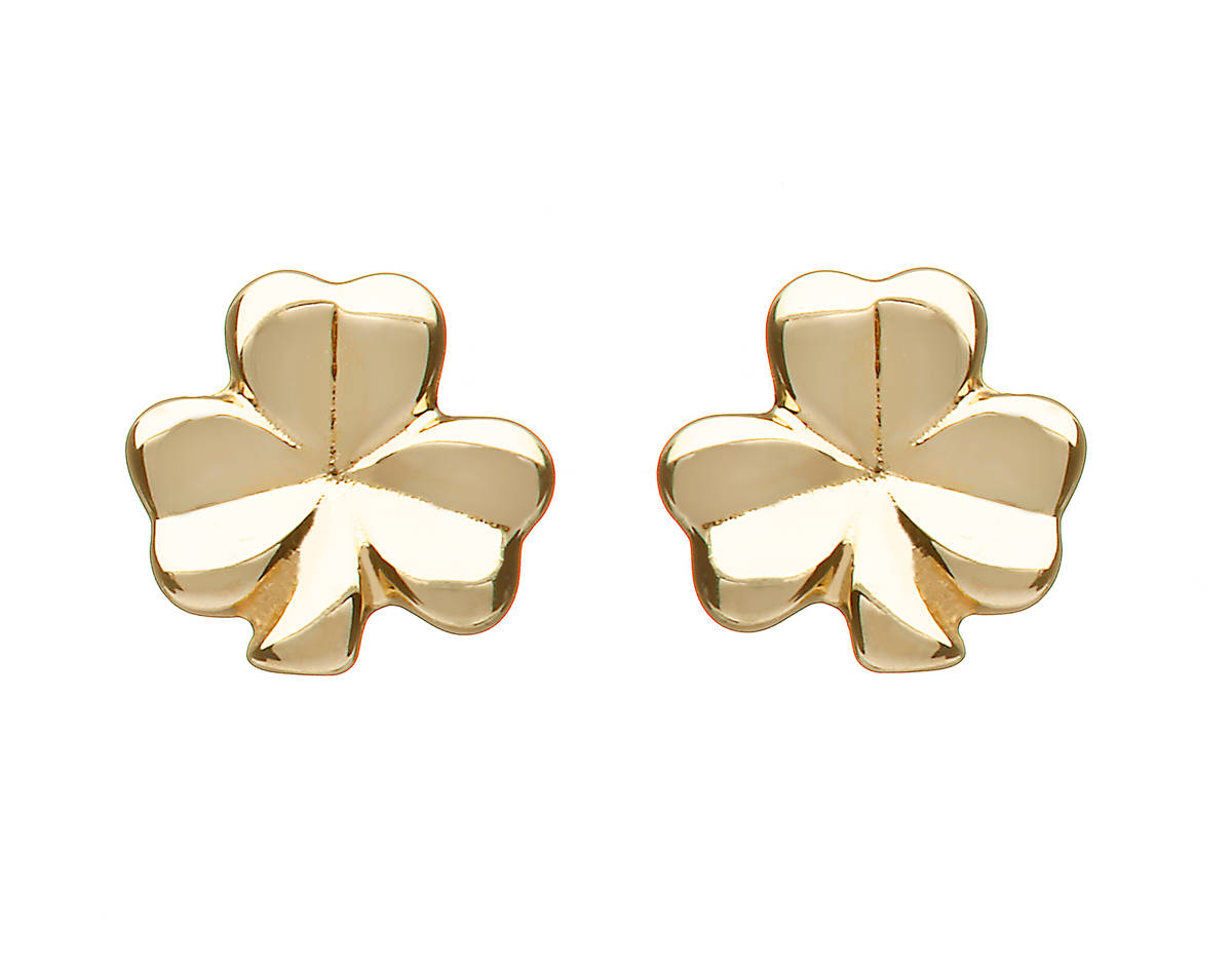 10ct Y/gold Small Solid Classic Shamrock Earrings 6mx6m 10 carat yellow gold small solid classic shamrock earrings -JUST LOVELY