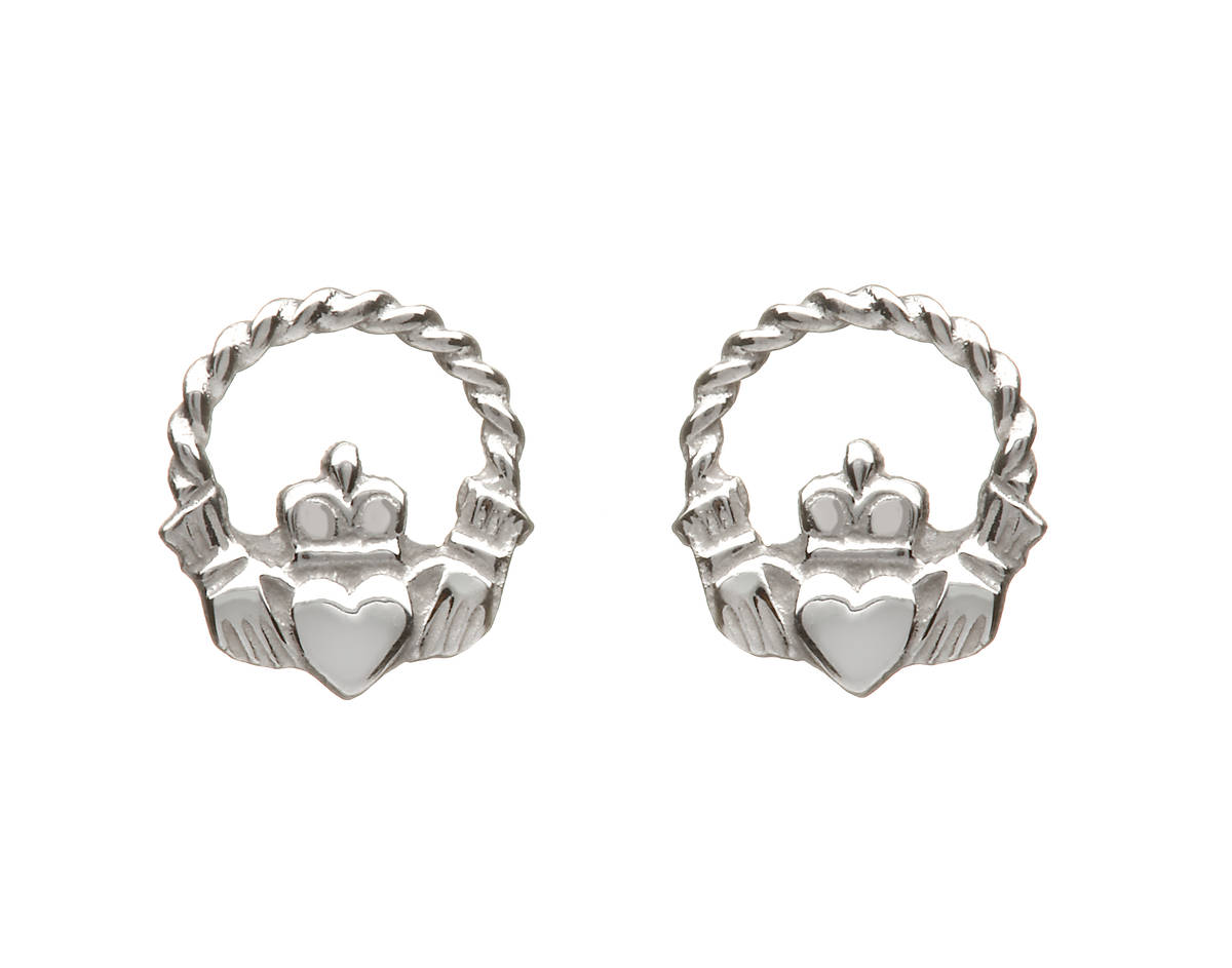 10 carat Yellow Gold Small Wire Claddagh Earrings