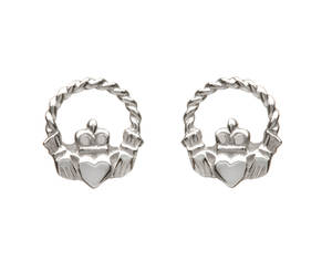 White Gold Small Claddagh Earrings