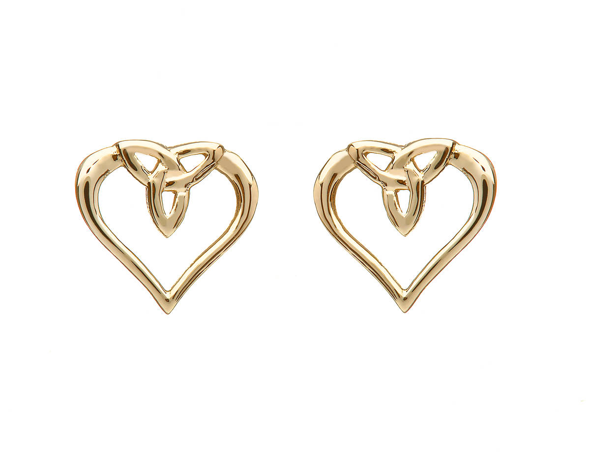 10 carat yellow gold trinity knot heart stud earrings delightfully formed and manufactured, as all else,here in Dublin,Ireland.