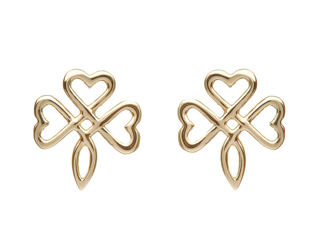 10 carat yellow gold open shamrock stud earrings-a delightful take on the classic shape.
