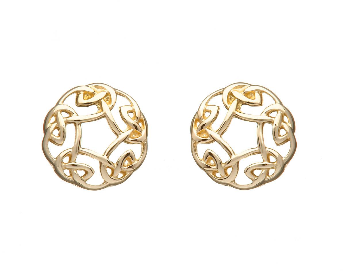 10 carat gold Celtic Circle stud earrings
