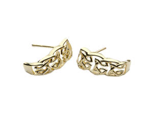 10ct Gold Square Trinity Knot Stud Earrings