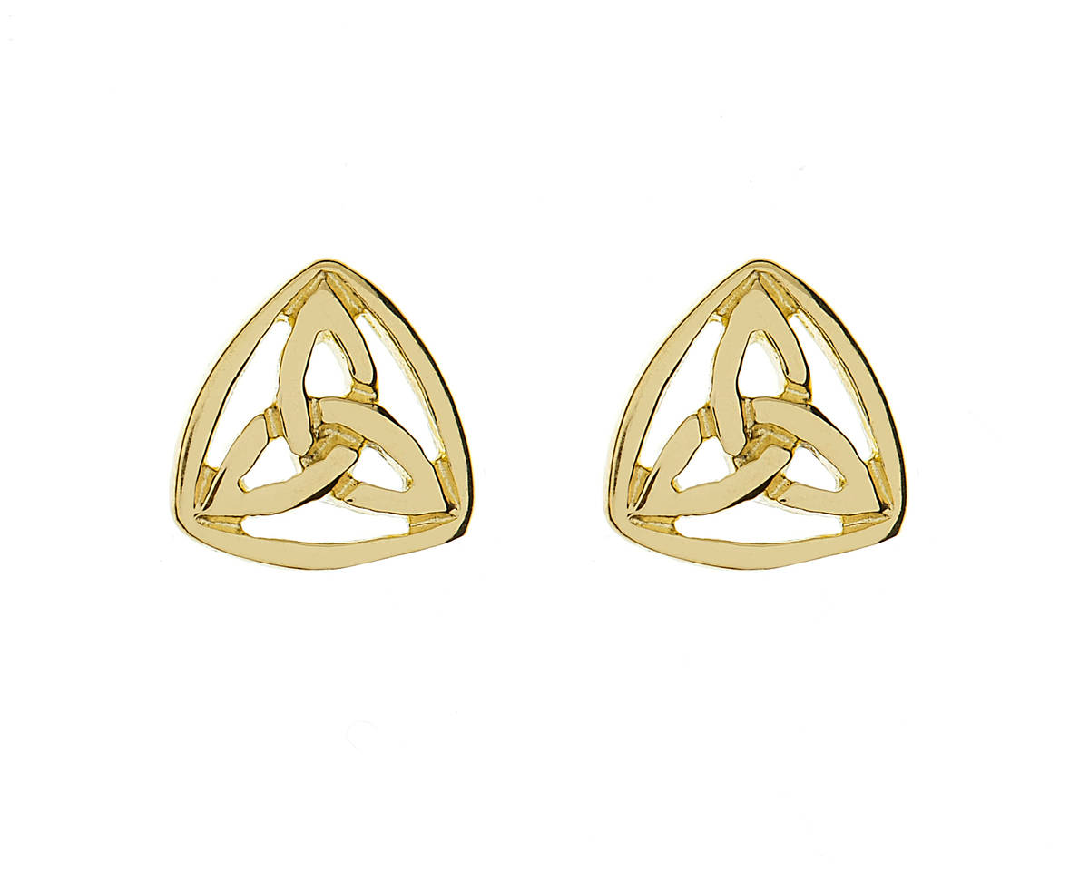 10 carat yellow gold small trinity knot stud earrings closed by a scalloped rim.