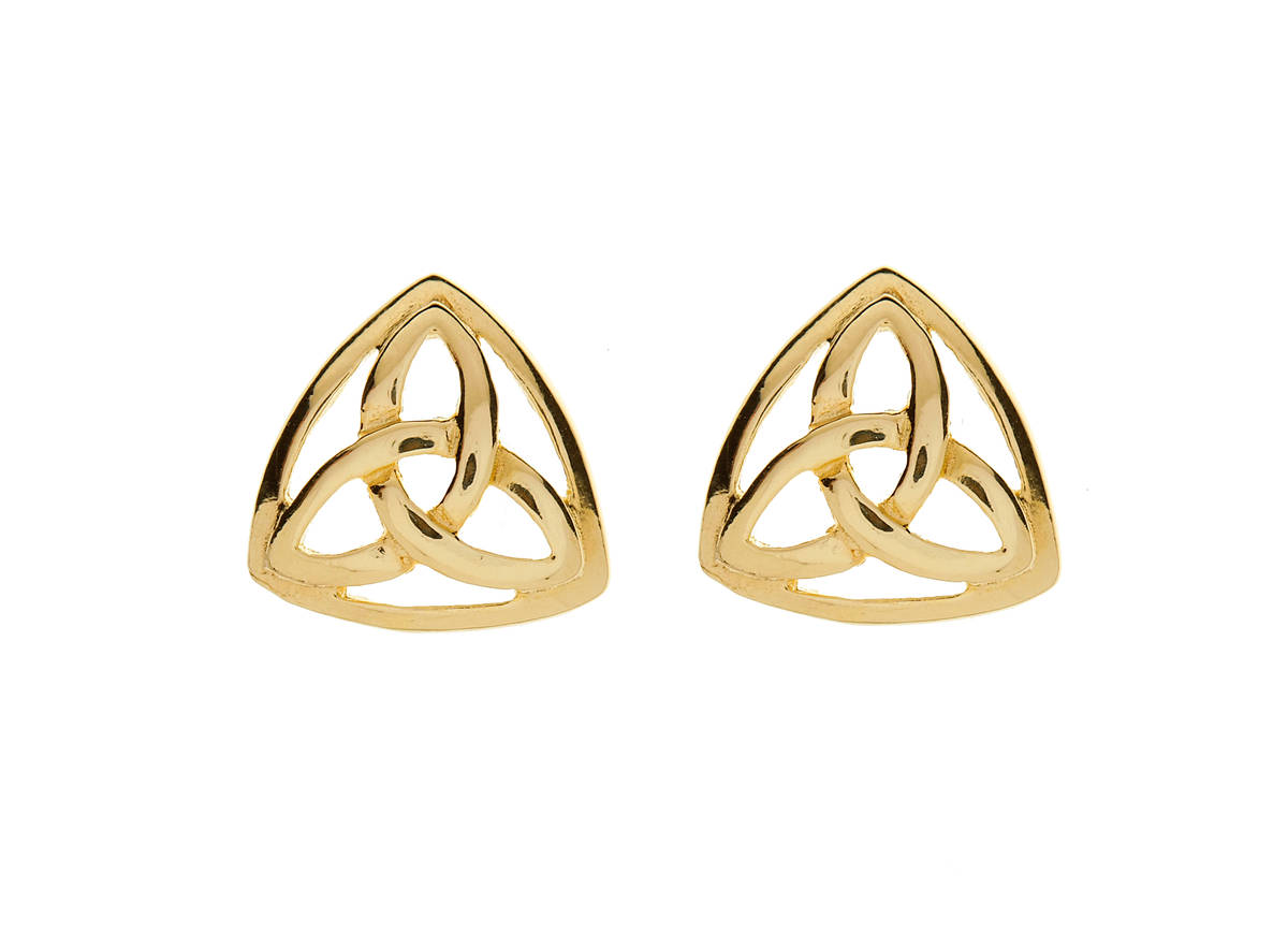 10 carat yellow gold trinity knot earrings in a closed design-very stylish.
