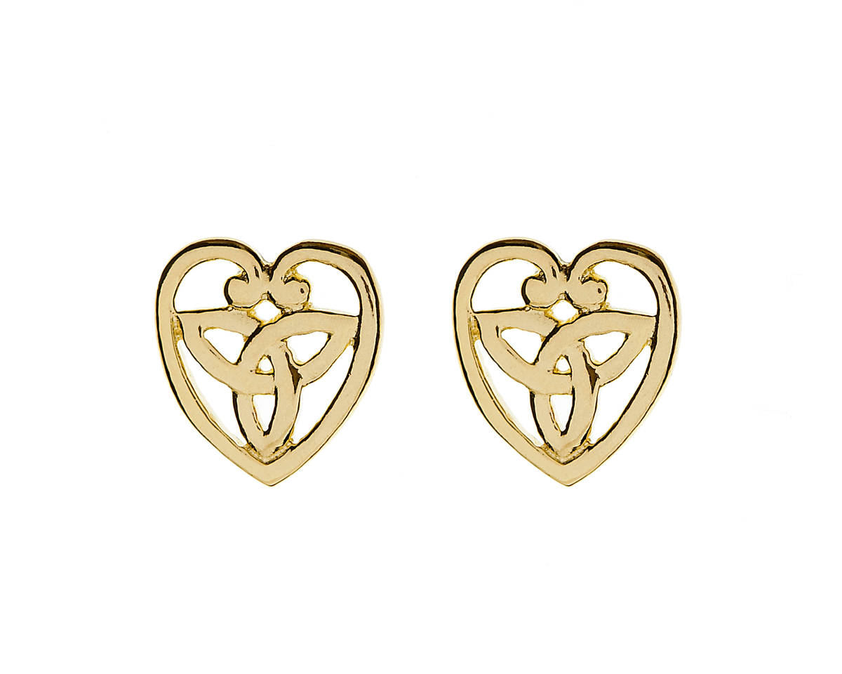 Great value 10 carat yellow gold heart with trinity knot centre stud earrings