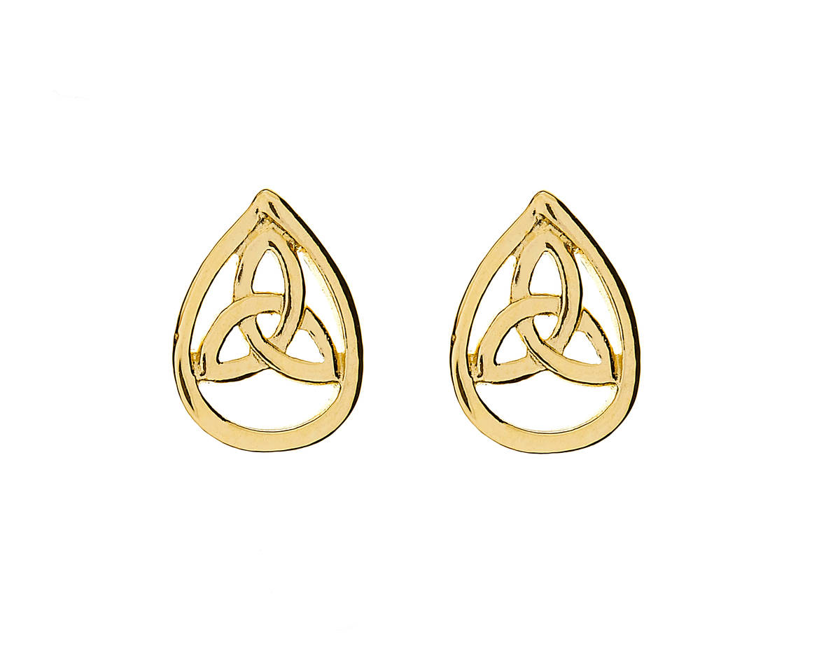 10 carat yellow gold teardrop stud earrings with trinity knot centres.