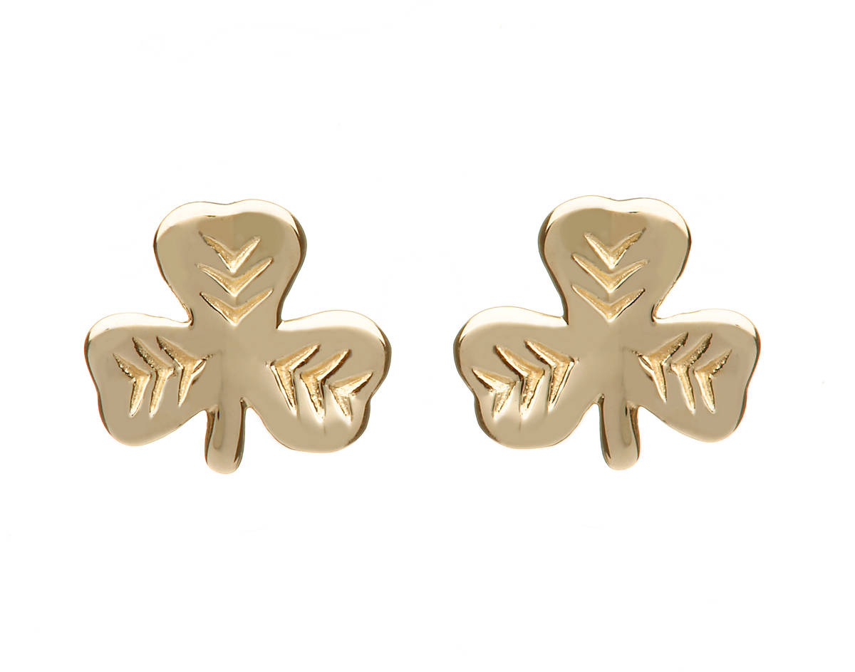a beautifully presented natural looking 10 carat pair of shamrock earrings.