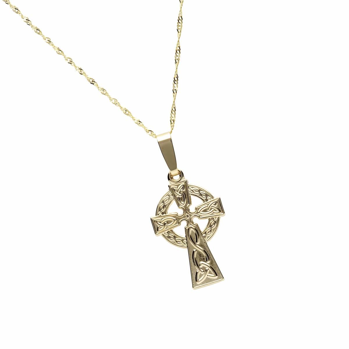 10 carat yellow gold classic Celtic cross pendant