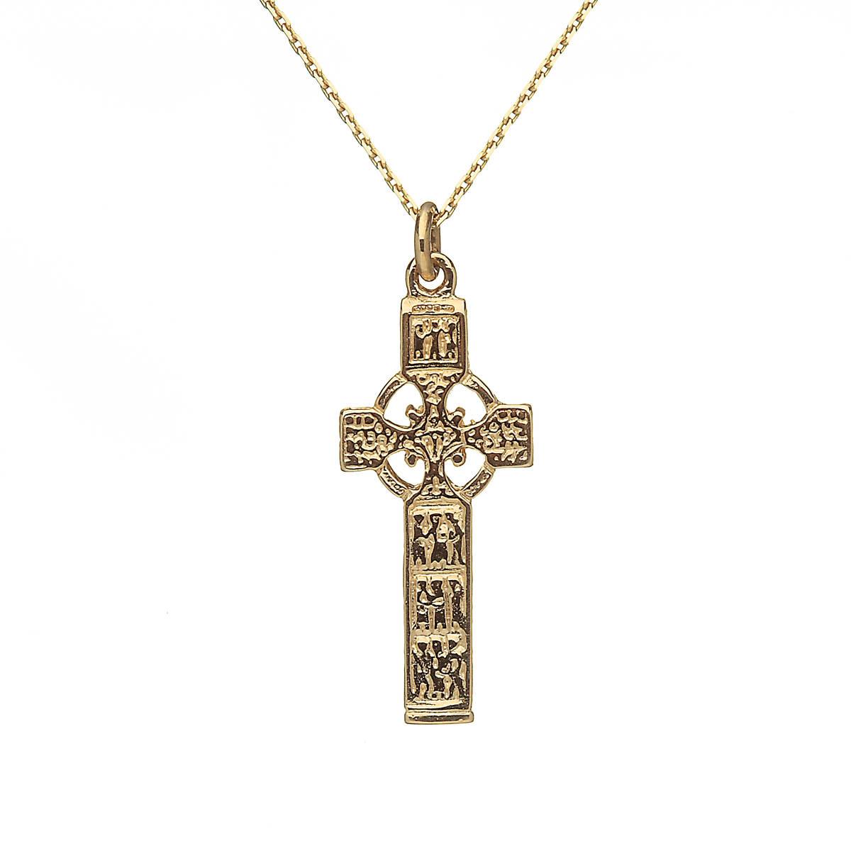 "10 carat yellow gold double sided Celtic cross 18"" chain pendan"