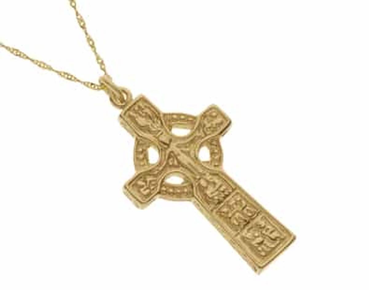10 carat yellow gold heavy Duleek Celtic cross pendant