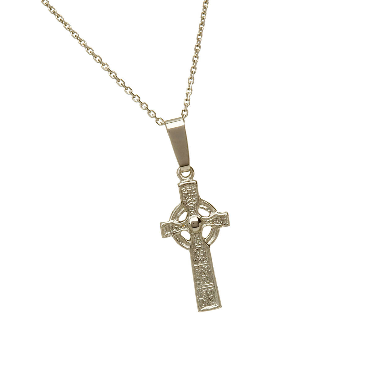 \n10 carat white gold reproduction Duleek cross pendant\n which is also available in yellow or rose gold if you request it in our comment box on checkout.