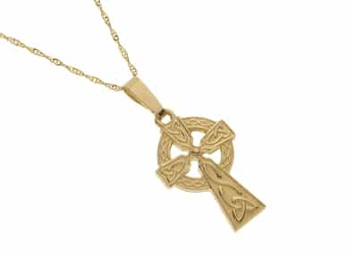 10 carat yellow gold double sided detail Celtic cross